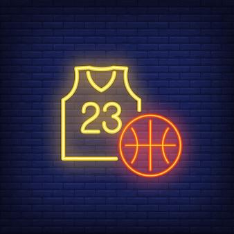 Sinal de néon de basquete e jersey