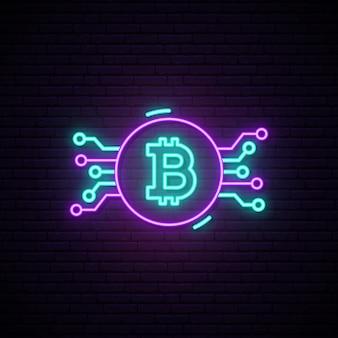 Sinal de néon de bitcoin.