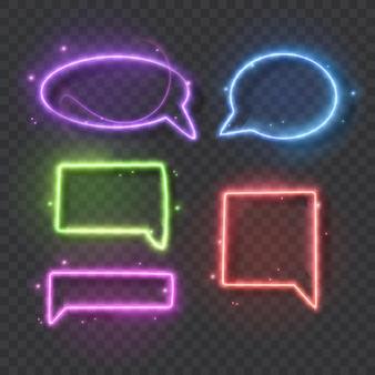 Sinal de néon de bolha de discurso de luz de néon em fundo transparente