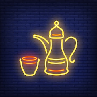Sinal de néon de café árabe. cafeteira tradicional que simboliza a hospitalidade.