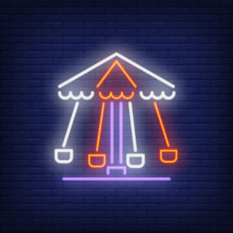 Sinal de néon de carrossel rotativo