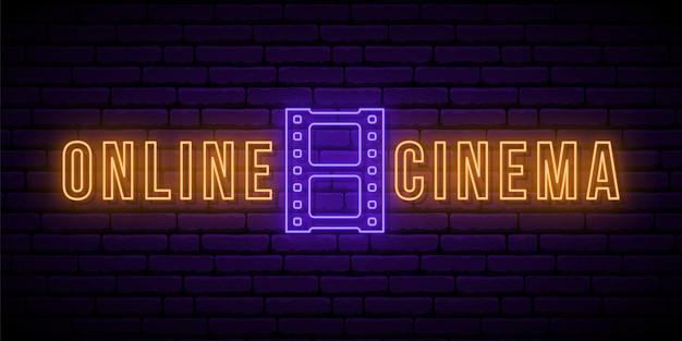 Sinal de néon de cinema online.