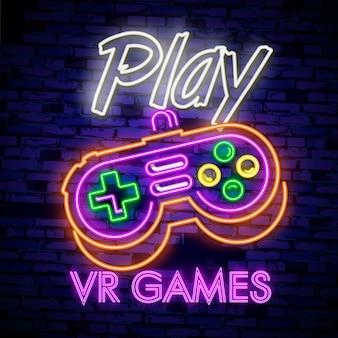 Sinal de néon de coleção de logotipos de jogos de vídeo