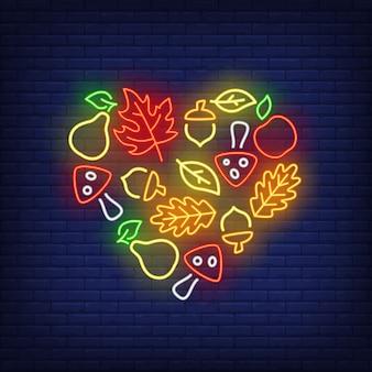 Sinal de néon de colheita outono