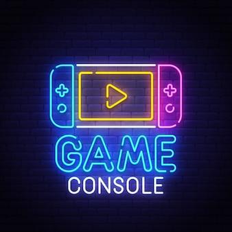 Sinal de néon de console de jogos