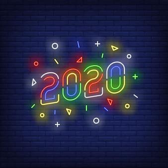 Sinal de néon de dois mil e vinte multicoloridos