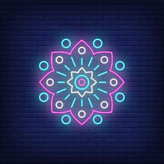Sinal de néon de emblema floral circular abstrato