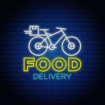 Sinal de néon de entrega de comida com ícone de bicicleta.