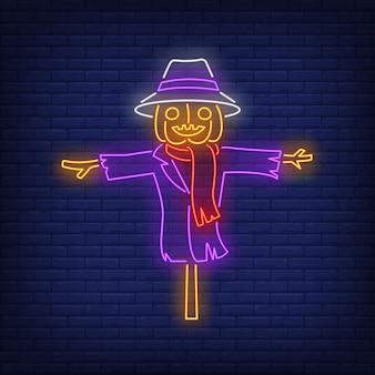 Sinal de néon de espantalho de abóbora
