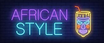 Sinal de néon de estilo africano. Letras de bar brilhante com vidro estranho