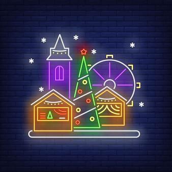 Sinal de néon de feira de diversão de natal