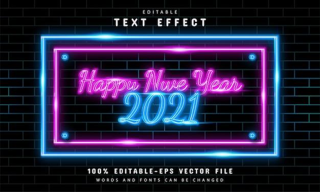 Sinal de néon de feliz ano novo com efeitos de texto editáveis
