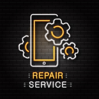 Sinal de néon de ferramentas de chave inglesa para decoração no fundo da parede. logotipo de néon realista para serviço de reparo. conceito de reparo mecânico e reparação de automóveis.
