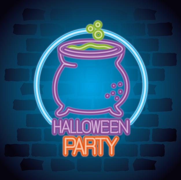 Sinal de néon de festa de halloween com bruxa caldeirão