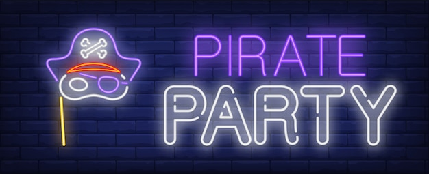 Sinal de néon de festa pirata