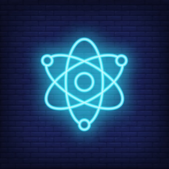 Sinal de néon de física. movimento de átomos. anúncio brilhante da noite.