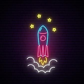 Sinal de néon de foguete.