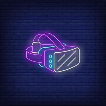 Sinal de néon de fone de ouvido de realidade virtual