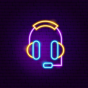 Sinal de néon de fones de ouvido. ilustração em vetor de promoção de negócios.
