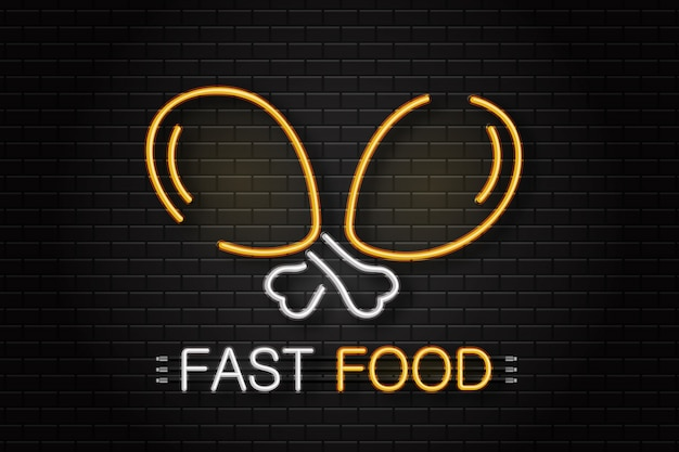 Sinal de néon de frango para decoração no fundo da parede. quadro indicador de néon realista para fast food. conceito de café ou restaurante.