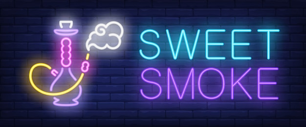 Sinal de néon de fumaça doce