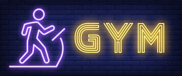 Sinal de néon de ginásio. letras de bar brilhante com homem na esteira