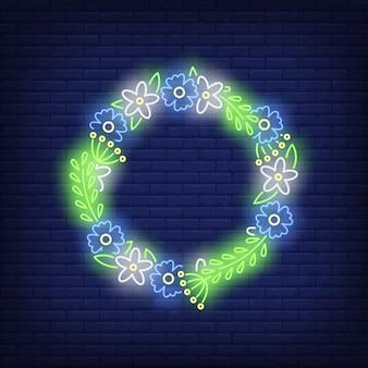 Sinal de néon de grinalda de flor