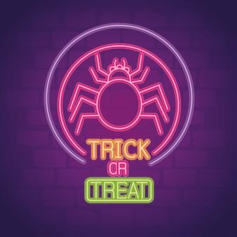 Sinal de néon de halloween com aranha