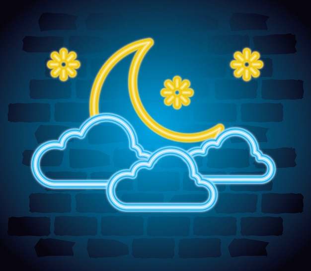 Sinal de néon de halloween com lua e nuvens