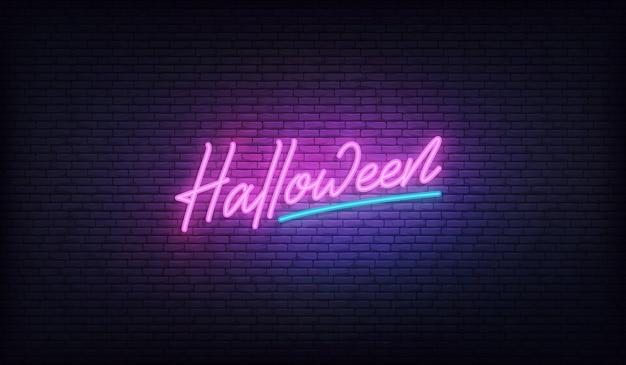 Sinal de néon de halloween. projeto de férias de halloween.
