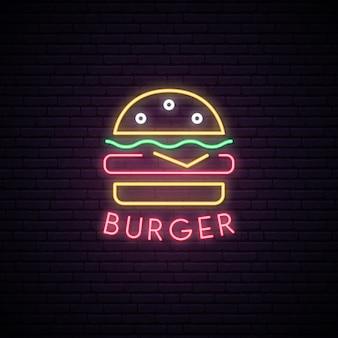 Sinal de néon de hambúrguer.