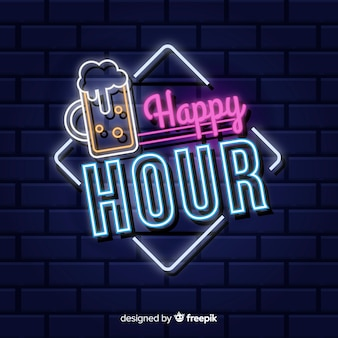 Sinal de néon de happy-hour