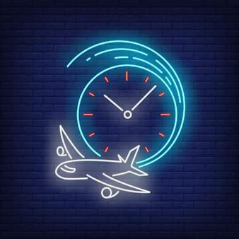 Sinal de néon de hora de partida