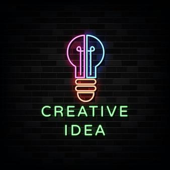 Sinal de néon de ideia criativa. modelo de estilo neon