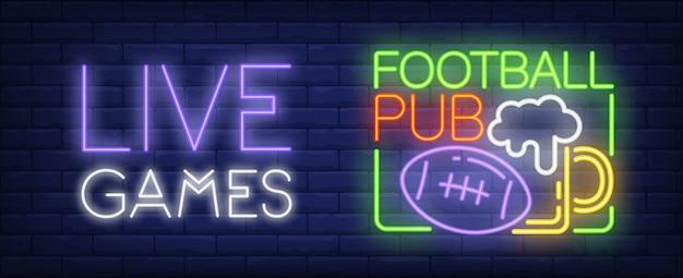 Sinal de néon de jogos ao vivo. esfera do futebol americano e caneca de cerveja.