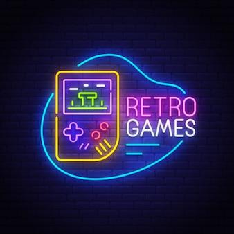 Sinal de néon de jogos retrô