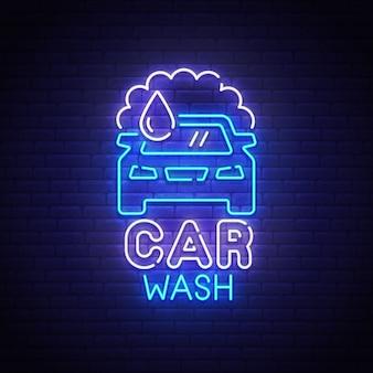 Sinal de néon de lavagem de carro
