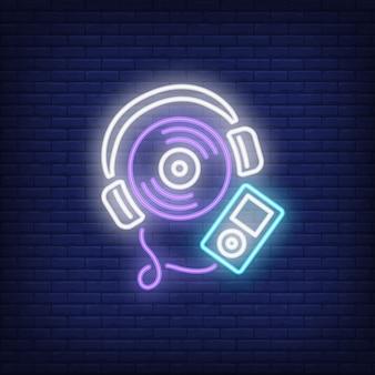 Sinal de néon de leitor de música