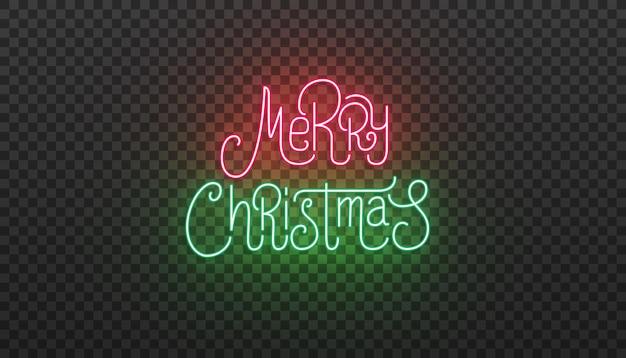 Sinal de néon de letras de feliz natal. tipografia brilhante brilhante para a celebração do natal.