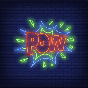 Sinal de néon de letras de pow