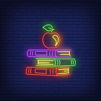 Sinal de néon de livros escolares