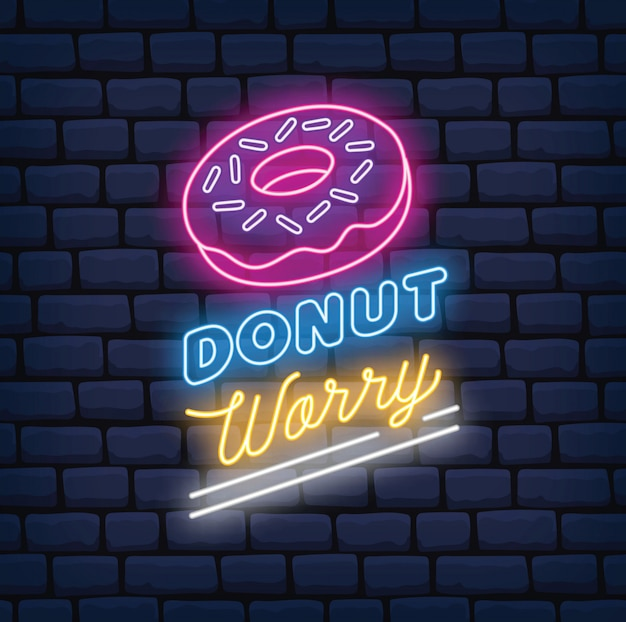Sinal de néon de loja de donuts
