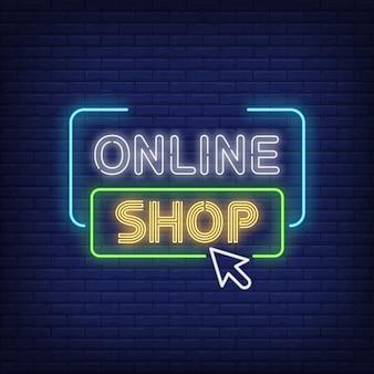 Sinal de néon de loja on-line