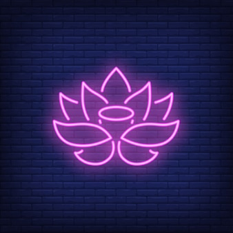 Sinal de néon de lótus rosa