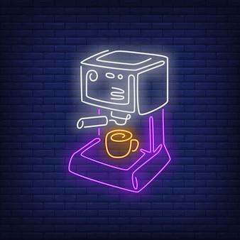 Sinal de néon de máquina de café.