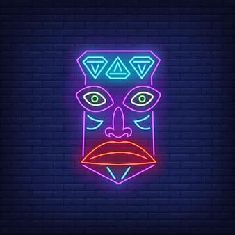 Sinal de néon de máscara tribal