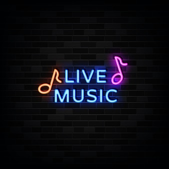 Sinal de néon de música ao vivo, estilo néon