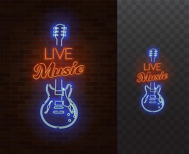 Sinal de néon de música ao vivo.