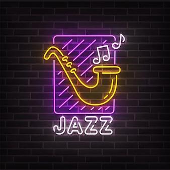Sinal de néon de música jazz