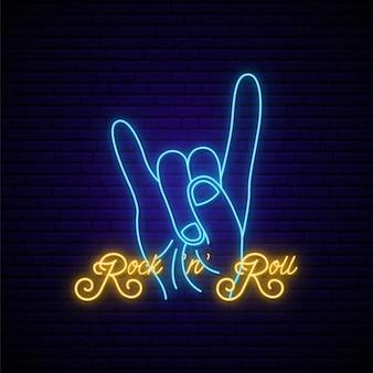 Sinal de néon de música rock.